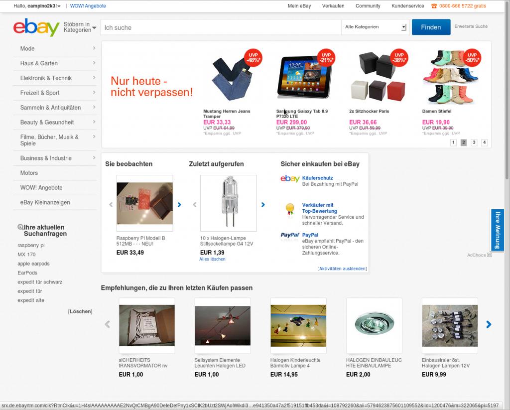 So sieht eBay in meinem Firefox aus