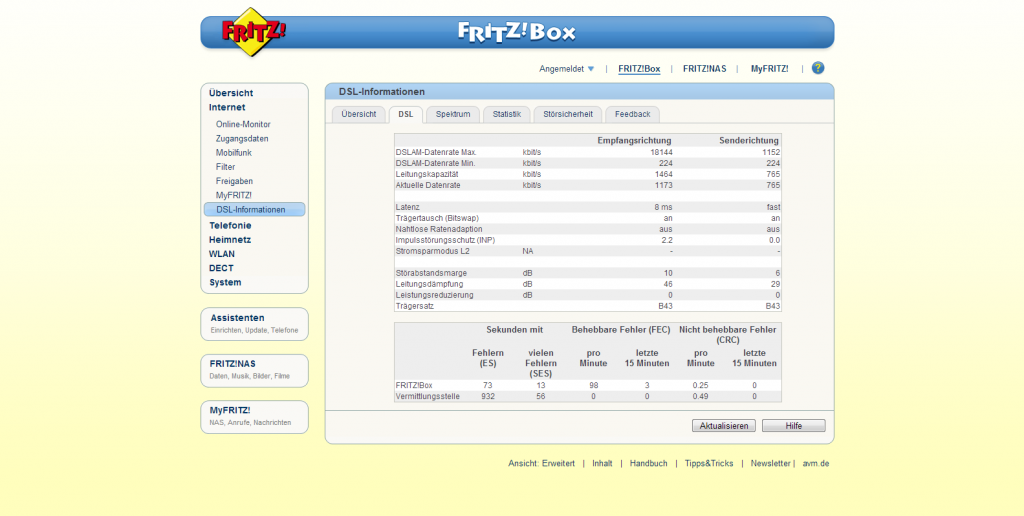 Screenshot Fritz!Box mit 1&1