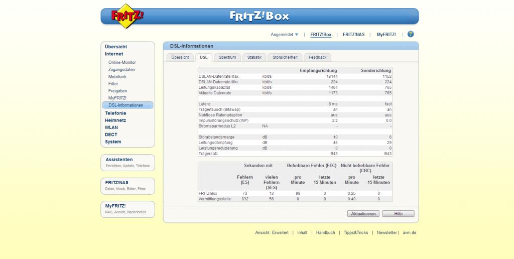 Screenshot Fritz!Box mit 1&1