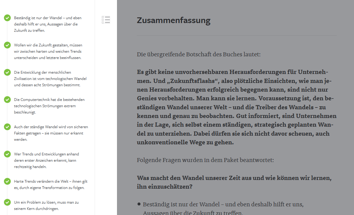 Screenshot: Blinkist Reader mit Navigation