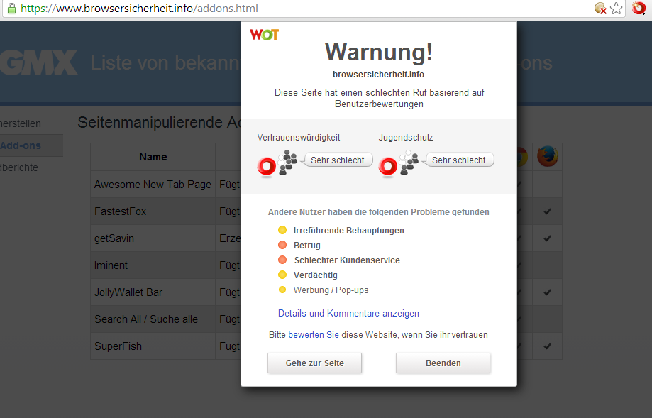 Screenshot browsersicherheit.info