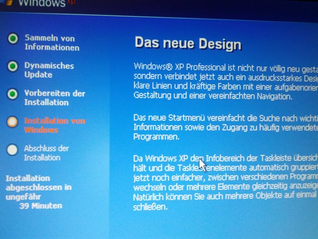 Foto von einem Windows XP Installer-Bildschirm