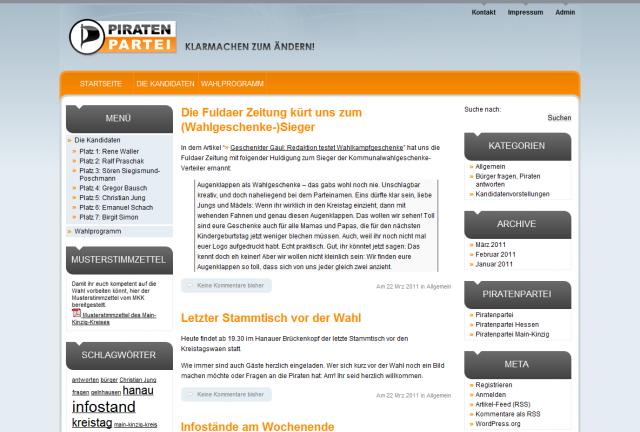 Kinzigpiraten Wahlkampfportal zur Kommunalwahl 2011