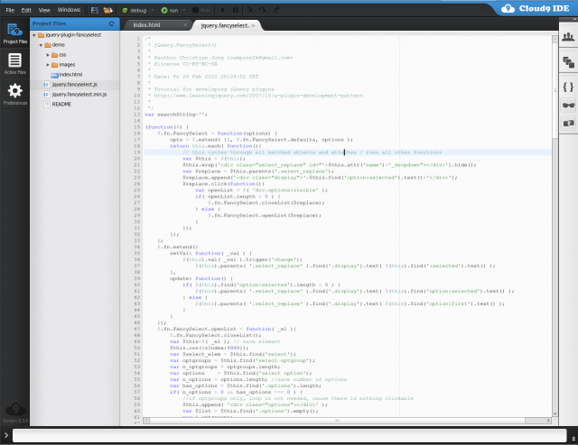 Screenshot von Cloud9IDE.com