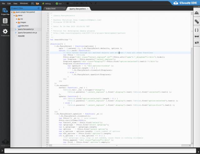 Screenshot von Cloud9IDE.com