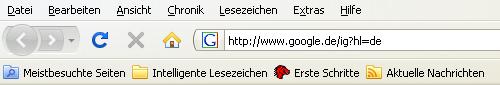 Toolbar des Firefox 3