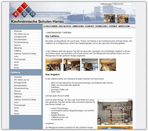 Screenshot der Seiten der Kaufmännischen Schulen Hanau