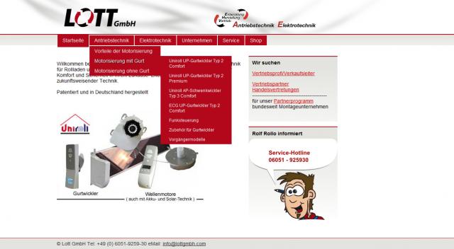 Screenshot der Lott GmbH Webseite