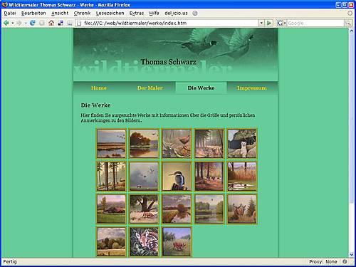 Screenshot der Seite des Wildtiermalers Thomas Schwarz