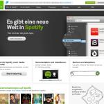 Startseite von Spotify
