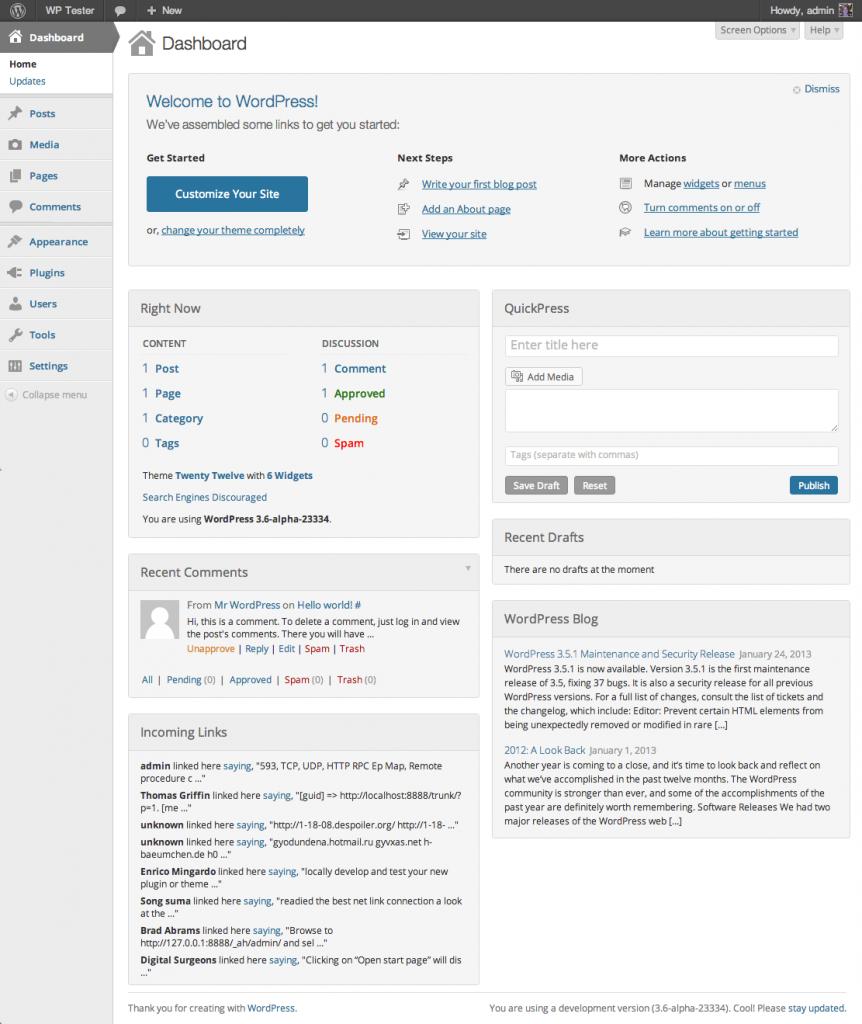 WordPress Flat Design Screenshot
